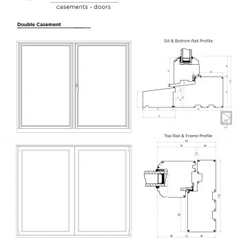 Technical Drawings of double casement sill, rail and frame profile