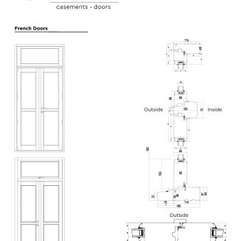 Technical Drawings of traditional french door profiles