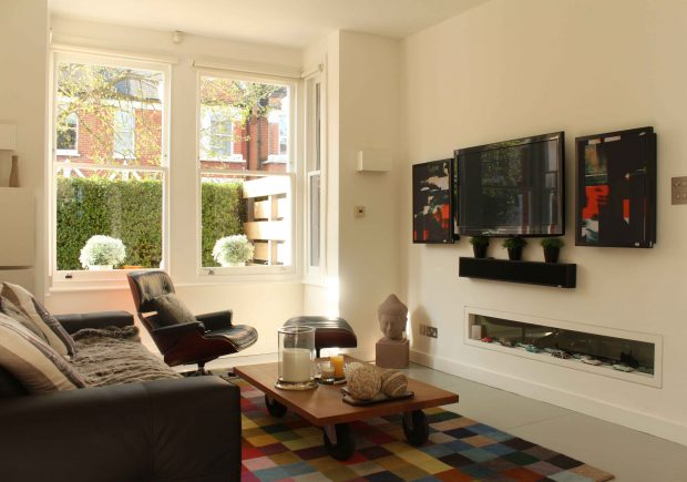 Internal view of 1 over 1 sash windows, in modern living room