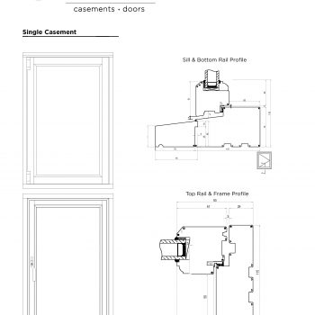 Technical Drawings of single casement sill, rail and frame profile