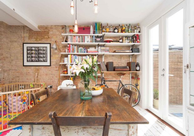 Long view of farmhouse style kitchen, with new French Doors