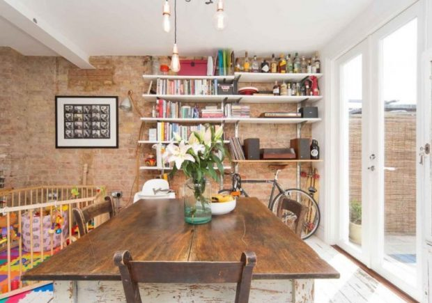 Gallery Image: Long view of farmhouse style kitchen, with new French Doors