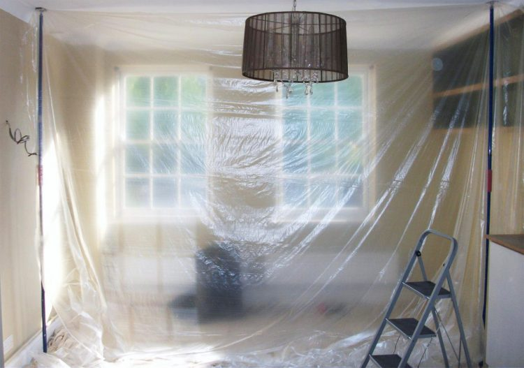 Gallery Image: Internal dust protection, including dust sheets, plastic wrap, corex and props.