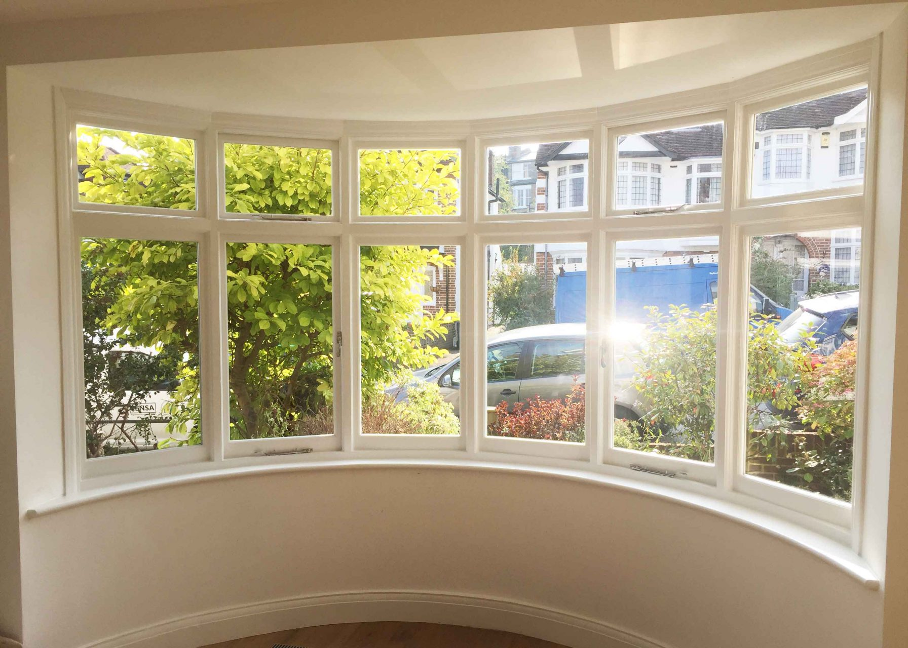 Gallery Image: Internal view of rounded casement bay installed in Muswell Hill house