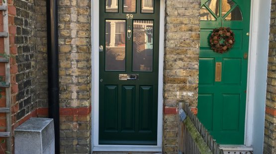 Gallery: Traditional Front Door /w 8 Panels; Decorative Glazed Patterns To Top
