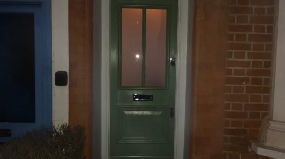 Gallery Image: Traditional Front Door /w 2 Satin Glass Panels & Etched Fanlight