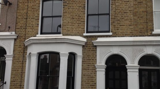 Gallery Image: External View of 2 over 2 Radius Head Sash Boxes in Two-Tone Paint