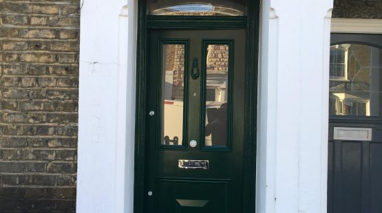Gallery: Traditional Front Door /w 3 Panels; Top Glazed, Bottom Single Square Timber