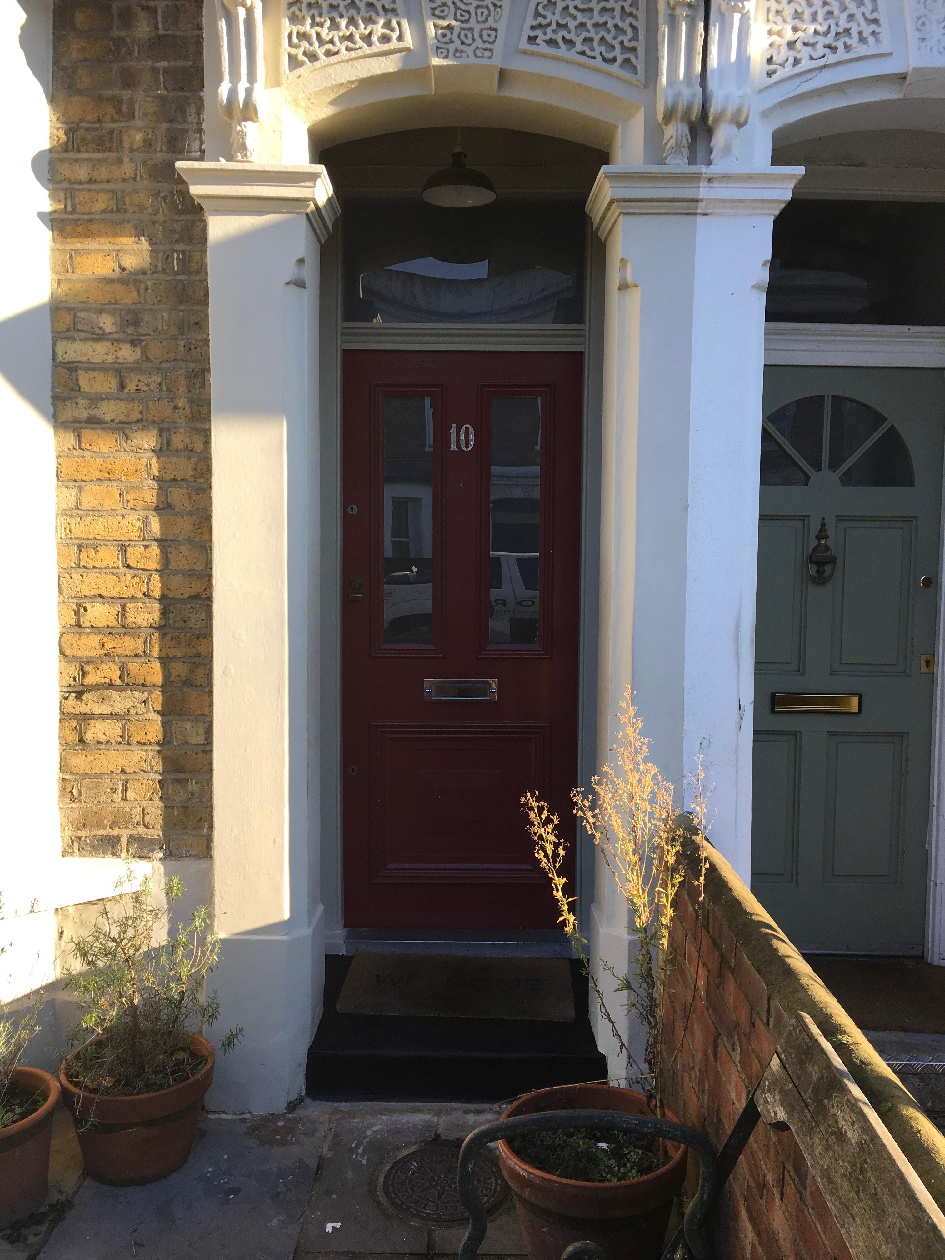 Gallery: Traditional Front Door /w 4 Panels; Top Glazed, Bottom Timber