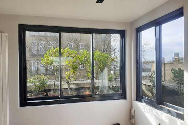 living room Aluminium windows sliding in westminster nw1