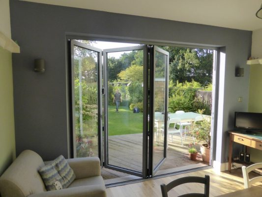 Folding doors to garden four leaf