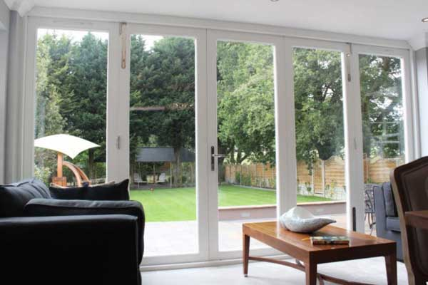 Folding doors white interior