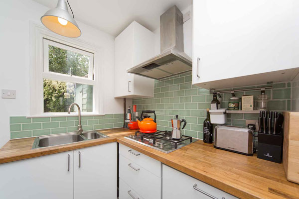 Kitchen with casement over sink