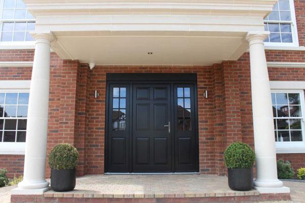 black door with sidelights