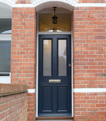 Front doors half timber half glass with fanlight