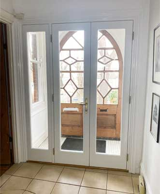 new french door in wood green interior 2