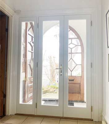 new french door in wood green interior