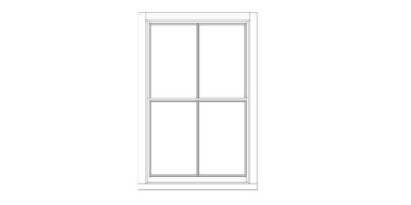 Simple diagram of sliding sash window