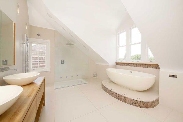 Wooden sash windows in bathroom