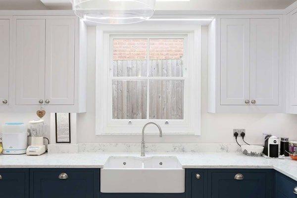 wooden sash windows in kitchen