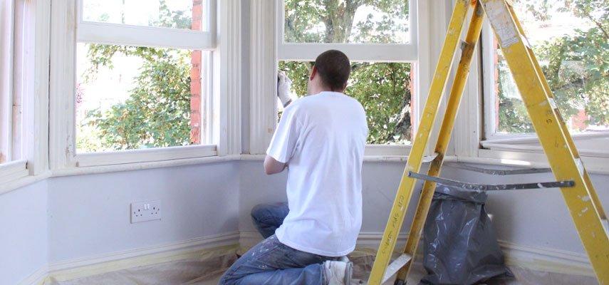 wooden sash windows painting